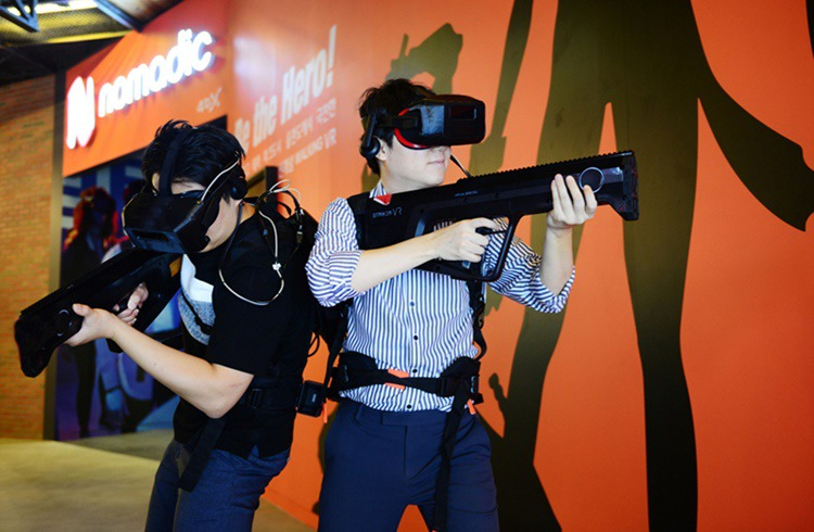 People can be seen enjoying new concept haptic VR experience Nomadic, soon to be available at CGV Gangbyeon