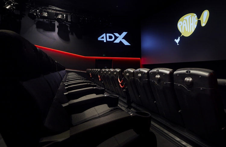 Full view of the Inside of the 4DX screening room recently opened at Pathé Utrecht Leidsche Rijn, a cinema located in Utrecht, Netherlands.