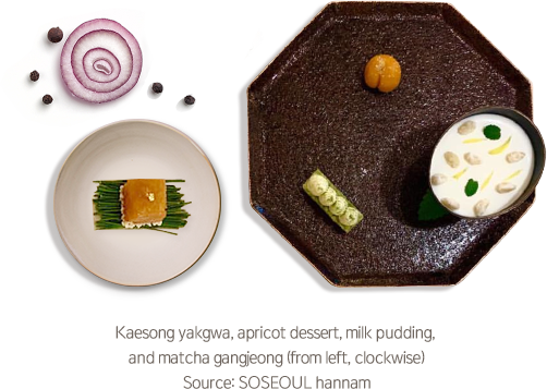 Kaesong yakgwa, apricot dessert, milk pudding,